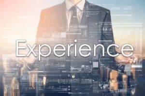 Businessman is presenting text: Experience